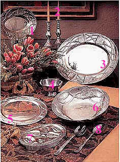Mexican pewter strand table set for Mexican arts and crafts for sale